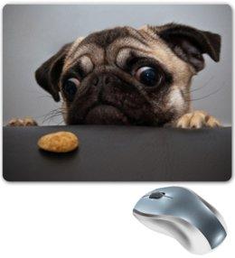 """Коврик для мышки """"печенька"""" - pug, собака, cute, мопс, печенька"""