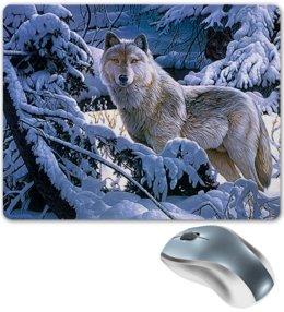 "Коврик для мышки ""БЕЛЫЙ ВОЛК"" - стиль, снег, лес, красота, волк"