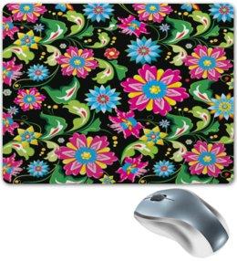 """Коврик для мышки """"Узор цветов"""" - цветы, природа, хохлома, роспись, букет"""