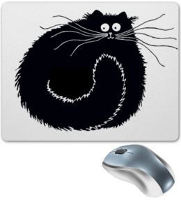 """Коврик для мышки """"В ожидании  вашей мышки"""" - арт, смешной кот, чёрный кот, кот и мышь"""