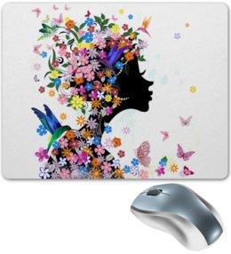 """Коврик для мышки """"Природа"""" - природа, бабочки, весна, девушка, цветы"""