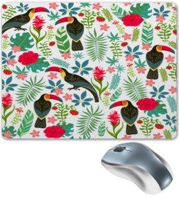 """Коврик для мышки """"Птицы и тропики"""" - природа, цветы, птички, тропики, птицы"""