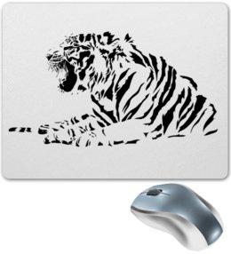 """Коврик для мышки """"Силуэт Бенгальского тигра. """" - силуэт, хищник, тигр, животное, бенгальский"""