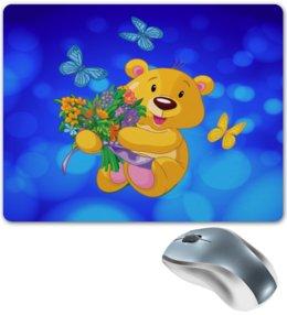 """Коврик для мышки """"Мишка и букет"""" - бабочки, цветы, медведь, мишка, игрушки"""