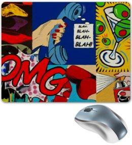 """Коврик для мышки """"BLAH-BLAH-BLAH!"""" - арт, comics, girls, руки, комиксы, ярко, губы, поп-арт, pop art, omg"""
