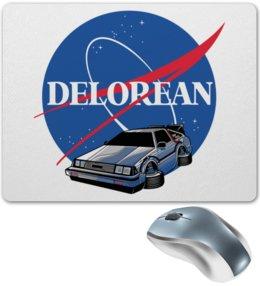 """Коврик для мышки """"Delorean"""" - назад в будущее, nasa, машина времени, делореан"""