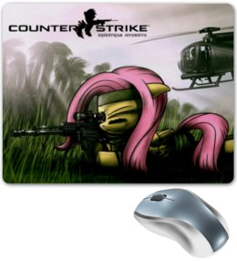 "Коврик для мышки ""mlp cs fluttershy"" - pony, mlp, my little pony, fluttershy, counter strike"
