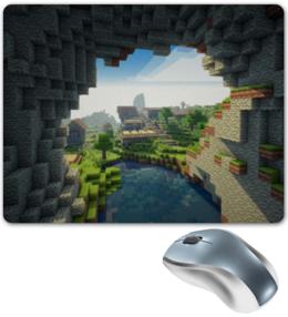 """Коврик для мышки """"Minecraft"""" - майнкрафт, деревья, озеро, горы, облака"""
