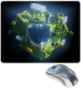 """Коврик для мышки """"Minecraft - Куб"""" - minecraft, майнкрафт"""