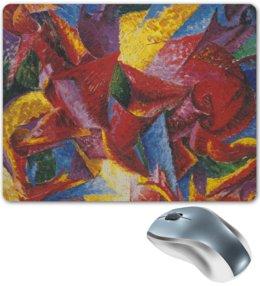 "Коврик для мышки ""Пластичные формы лошади (картина Умберто Боччони)"" - картина, живопись, футуризм, кубизм, боччони"