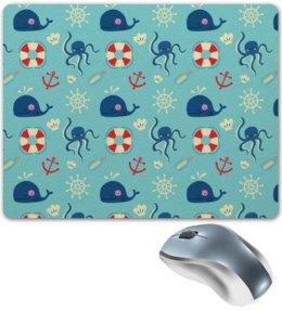 """Коврик для мышки """"Морские обитатели"""" - море, якорь, кит, осминог, штурвал"""