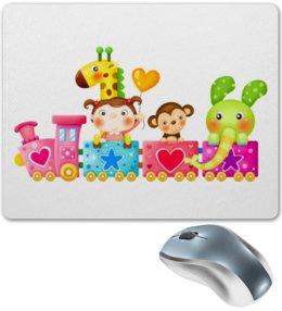 """Коврик для мышки """"""""Хорошее настроение"""""""" - сердечко, животные, дети, игрушки, девочка, шарик, слоник, жирафик, обезьянка, звёздочка"""