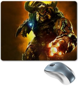 "Коврик для мышки ""Doom 4"" - doom, шутер, дум, cyberdemon, кибер демон"