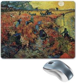 """Коврик для мышки """"Красные виноградники в Арле. Монмажур"""" - картина, пейзаж, ван гог, живопись, постимпрессионизм"""