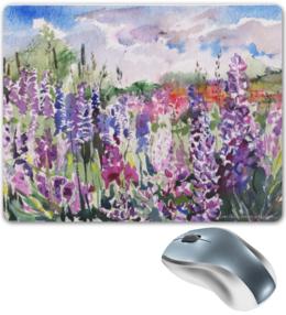 """Коврик для мышки """"Поле люпинов"""" - цветы, фиолетовый, пейзаж, акварель, люпин"""