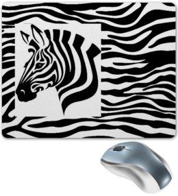 """Коврик для мышки """"Зебра"""" - зебра, белый, чёрный, дизайн, графика"""