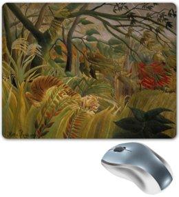 "Коврик для мышки ""Нападение в джунглях (картина Анри Руссо)"" - картина, природа, тигр, живопись, руссо"