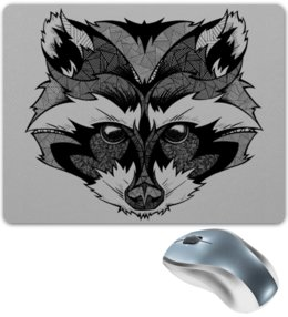 "Коврик для мышки ""Енот стилизация"" - рисунок, графика, енот"