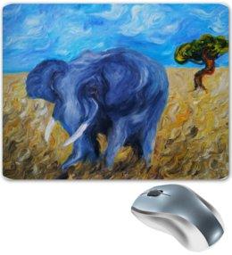 """Коврик для мышки """"Синий слон"""" - слон, дерево, blue, elephant, саванна, savannah"""