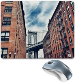 """Коврик для мышки """"Здания"""" - город, мост, кирпич, здания, стены"""