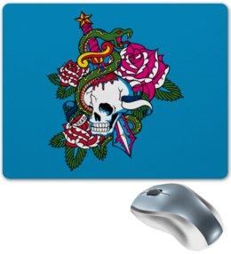 """Коврик для мышки """"Череп"""" - роза, змей, кинжал, череп"""