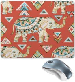 """Коврик для мышки """"Индия"""" - животные, слон, графика, треугольники, индия"""