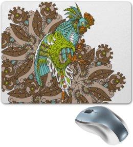 """Коврик для мышки """"петушиное разноцветие"""" - узор, птица, символ года, злой, петух"""