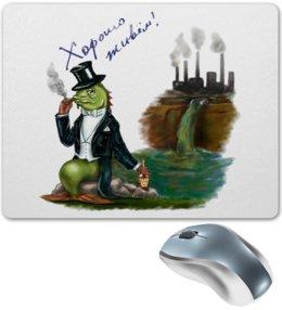 """Коврик для мышки """"Хорошо живем"""" - прикольно, арт, юмор, рисунок, прикольные, в подарок, оригинально"""