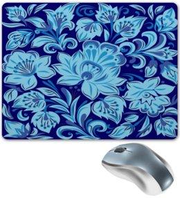 """Коврик для мышки """"Голубые цветы"""" - цветы, природа, хохлома, роспись, букет"""