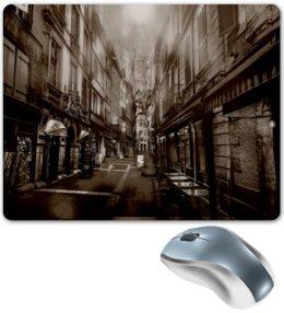 """Коврик для мышки """"Улица города"""" - город, улица, здания, коричневый, старинный"""