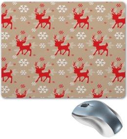 """Коврик для мышки """"Олень"""" - новый год, зима, снег, снежинки, олень"""