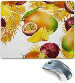 """Коврик для мышки """"Тропические фрукты"""" - фрукты, рисунок, тропики, папайя, маракуйя"""