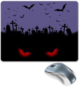 "Коврик для мышки ""Взгляд оттуда"" - хэллоуин, рисунок, взгляд, летучие мыши, кладбище"