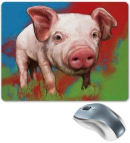 """Коврик для мышки """"Симпатичный поросёнок"""" - свинка, свинья, хрюшка, поросёнок, хряк"""