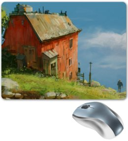 """Коврик для мышки """"Дом на холме"""" - house, небо, дом, digital, человек"""