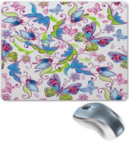 """Коврик для мышки """"Цветы и бабочки"""" - бабочки, цветы, узор, листья, весна"""
