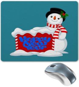 """Коврик для мышки """"Снеговик"""" - новый год, снеговик, снег, праздник, зима"""