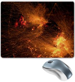 """Коврик для мышки """"Искры в ночи 2"""" - огонь, горячий, абстракция, яркий, горящий, пламя, абстрактный, искра, костер, уголь"""