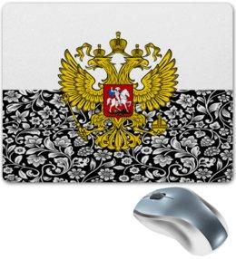 """Коврик для мышки """"Цветы и герб"""" - цветы, россия, герб, орел, хохлома"""