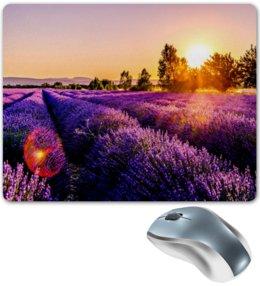 """Коврик для мышки """"Поле цветов"""" - цветы, природа, закат, пейзаж, поле"""