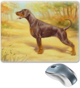 "Коврик для мышки ""Доберман на фоне Пейзажа"" - арт, животные, картина, природа, собаки"