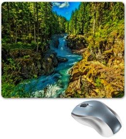 """Коврик для мышки """"Лесной пейзаж"""" - природа, горы, река, деревья, пейзаж"""