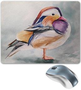 """Коврик для мышки """"Птичка"""" - бежевый, птица, природа, перья, лиловый"""
