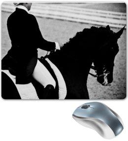 """Коврик для мышки """"Всадница верхом на лошади"""" - лошадь, алина макарова, выездка, всадница, dressage, конный спорт"""
