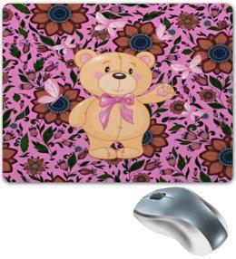 """Коврик для мышки """"Мишка и бабочки"""" - бабочки, цветы, медведь, мишка"""