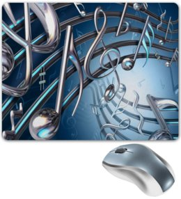 """Коврик для мышки """"Музыка"""" - музыка, ноты, мелодия, струны, звуковая волна"""