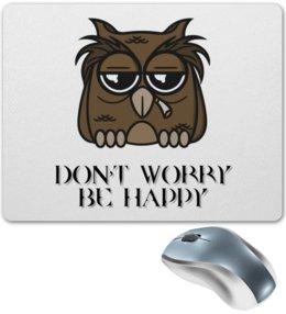 """Коврик для мышки """"Грустная сова"""" - птица, сова, грусть, совенок, будь счастлив"""