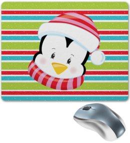 """Коврик для мышки """"Пингвин"""" - новый год, снег, полосы, пингвин, линии"""