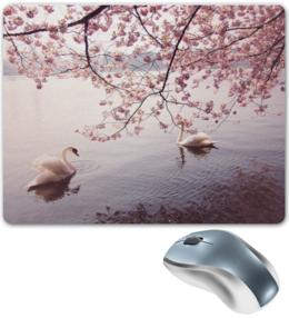 """Коврик для мышки """"Лебеди"""" - деревья, природа, озеро, лебеди, розовый цвет"""