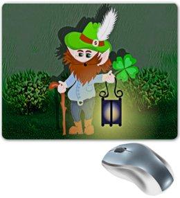 """Коврик для мышки """"Лепрекон с фонарем и волшебный клевер"""" - клевер, фонарь, день святого патрика, карлик, четырехлистник"""